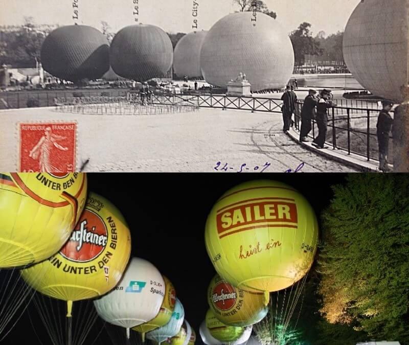 Los globos de gas, al llenarlos de un gas más ligeros que el aire, suben.