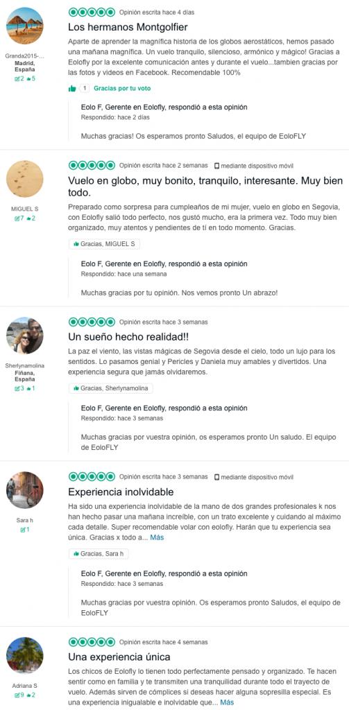 Opiniones en TripAdvisor de quienes han hecho sus vuelos en Globo