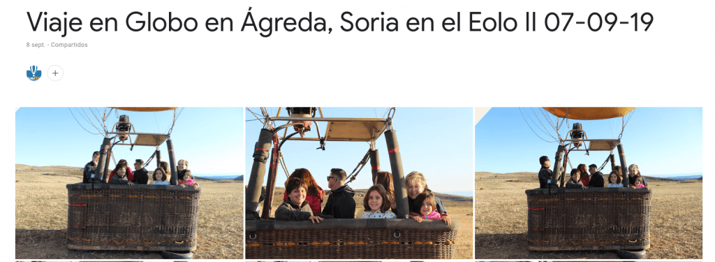 ALbum Google Fotos Viajen en Globo en Ágreda Eolo II