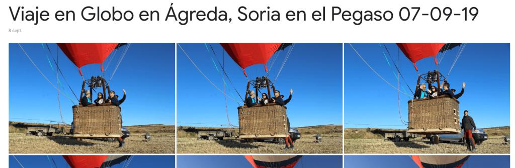 Enlace al Album de Fotos de Google Viaje en Globo en Ágreda Pegaso