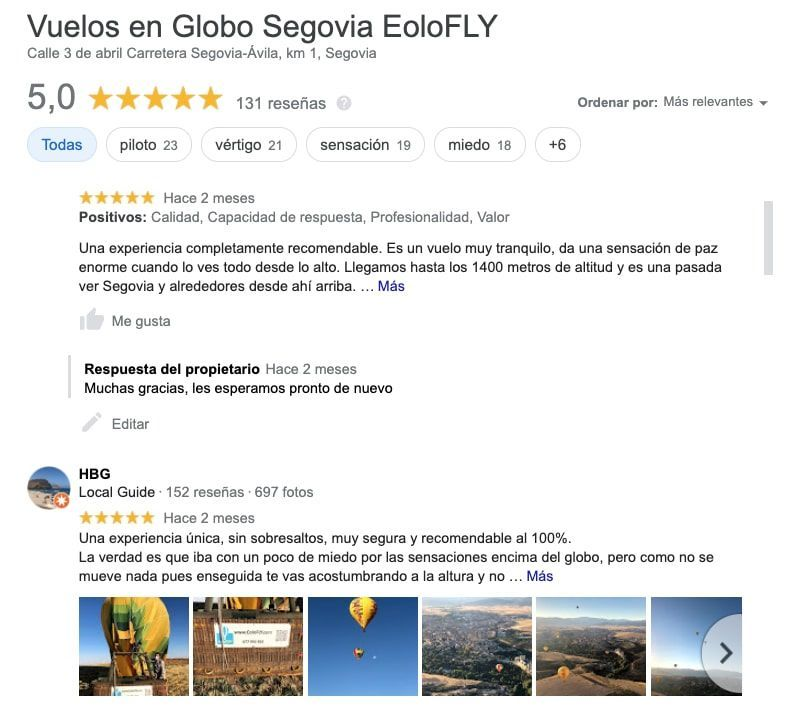 Opiniones 5 estrellas - Vuelos en Globo EoloFLY
