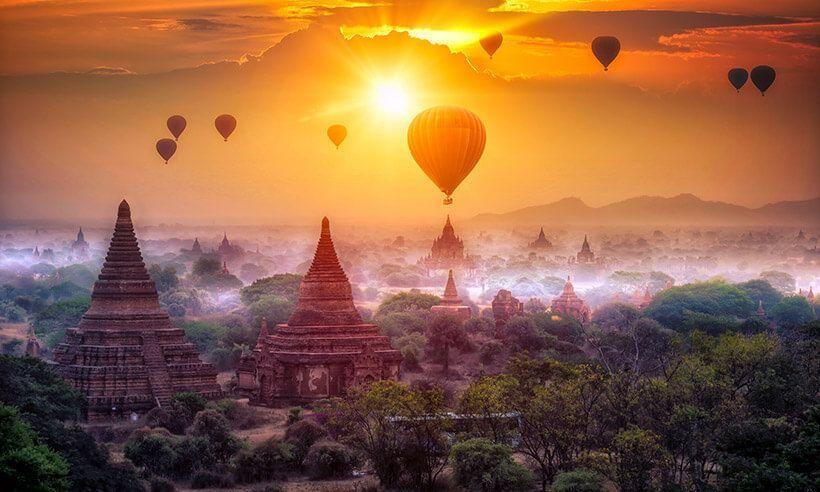 Uno de los mejores vuelos en globo del mundo. Vuelo en globo sobre Bagan - Myramar